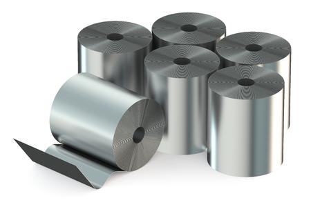 siderurgia: Bobinas de acero inoxidable aislado en el fondo blanco Foto de archivo
