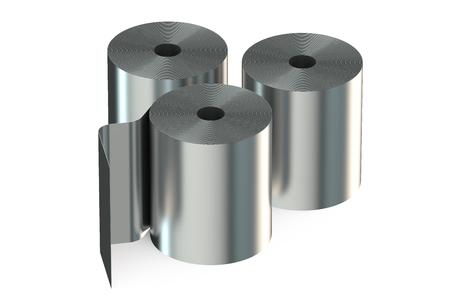 bobina: Bobinas de acero inoxidable aislado en fondo blanco