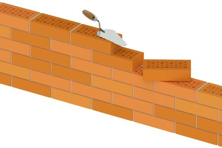 building bricks: wall from building bricks, construction concept isolated on white background Stock Photo