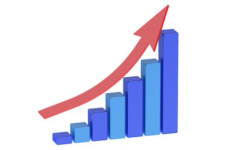 estadisticas: Gráfico de barras creciente con la flecha aislada en el fondo blanco