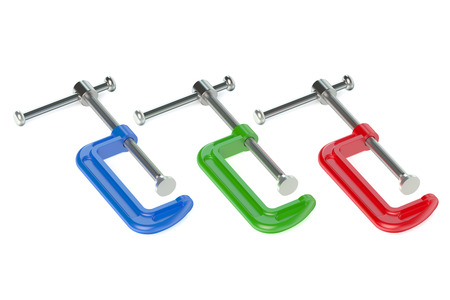 clamps: Colored C- clamps isolated on white background Stock Photo