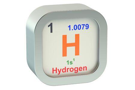hidrogeno: Elemento Hidr�geno aislado en fondo blanco