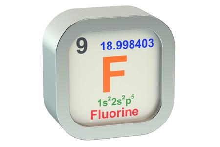 fluorine: Fluorine  element isolated on white background Stock Photo