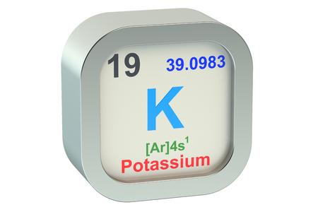 alkali metal: Potassium element isolated on white background