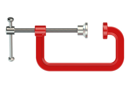 c clamp: Red Clamp isolated on white background Stock Photo