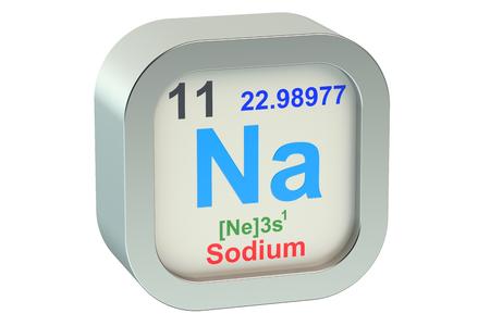 alkali metal: Sodium element isolated on white background Stock Photo