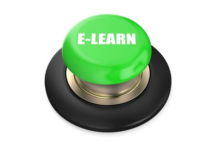 elearn: E-learn push-button isolated on white background Stock Photo