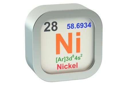 Nickel element symbol  isolated on white background