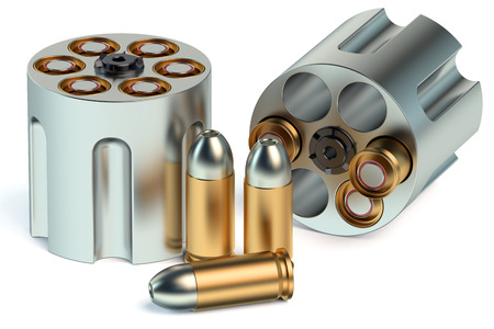 bullets: Revolver Cylinder with bullets Stock Photo