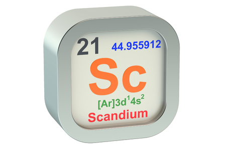 Scandium element symbol  isolated on white background Stock Photo
