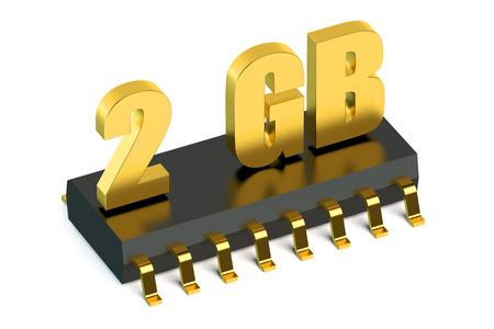 carnero: 2 Gb de memoria RAM o ROM chip para teléfonos inteligentes y tabletas concepto