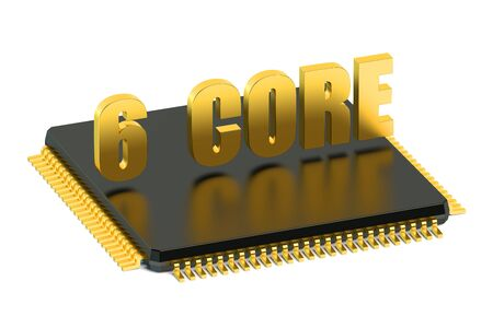 multicore: CPU 6 core chip for smatphone and tablet  isolated on white background