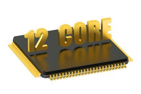 microelectronics: 12 core chip CPU for smatphone and tablet isolated on white background