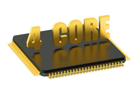 multicore: CPU 4 core chip for smatphone and tablet  isolated on white background
