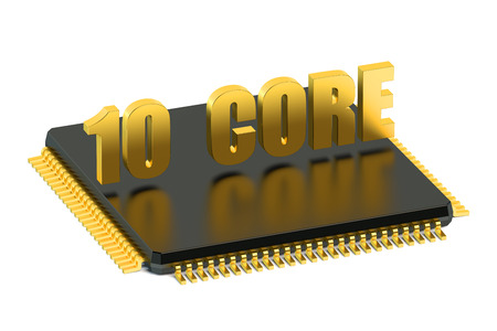 microelectronics: CPU 10 core chip for smatphone and tablet  isolated on white background