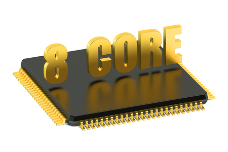 multicore: CPU 8 core chip for smatphone and tablet  isolated on white background Stock Photo