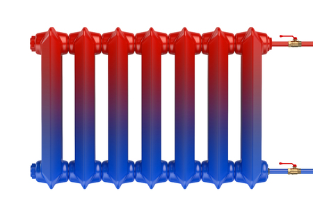 cast iron: Distribution of heat flow in the cast iron heating radiator isolated on white background