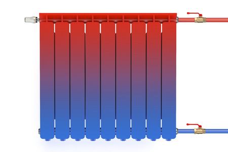Distribution of heat flow in the radiator isolated on white background Stock Photo