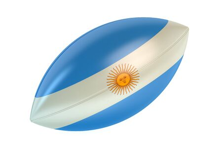 rugger: Rugby Ball with flag of Argentina isolated on white background