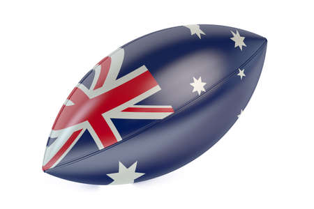 rugger: Rugby Ball with flag of Australia isolated on white background Stock Photo