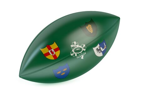 rugger: Rugby Ball with flag of Ireland isolated on white background Stock Photo