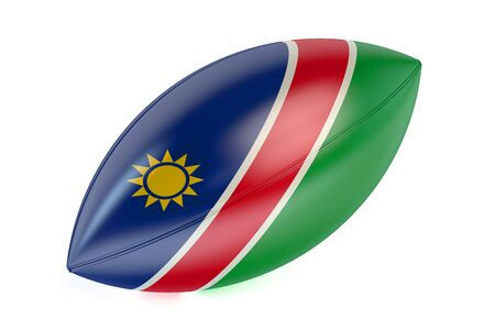 rugger: Rugby Ball with flag of Namibia isolated on white background