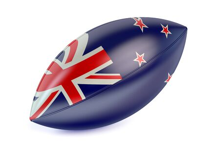 rugger: Rugby Ball with flag of  New Zealand isolated on white background