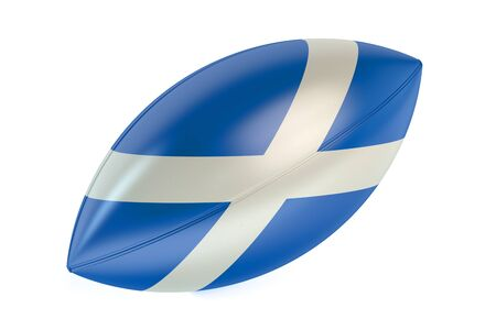 rugger: Rugby Ball with flag of Scotland isolated on white background