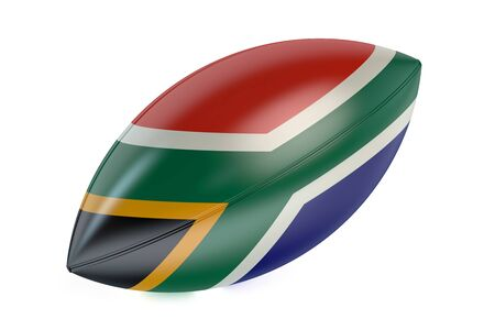 rugger: Rugby Ball with flag of South Africa isolated on white background