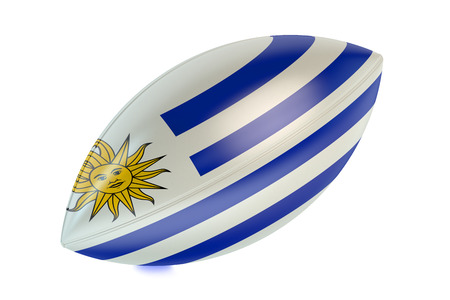 rugger: Rugby Ball with flag of Uruguay isolated on white background