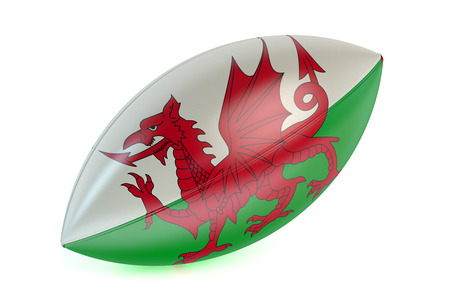 rugger: Rugby Ball with flag of Wales isolated on white background