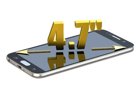 inches: Smartphone screen with 4.7 inches diagonal isolated on white background Stock Photo