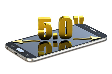 Smartphone with 5.0 inches diagonal isolated on white background Stock Photo