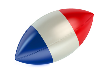 rugger: Rugby Ball with flag of France isolated on white background