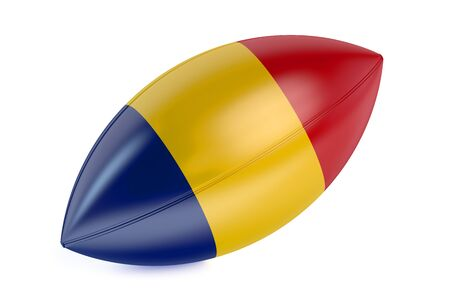 rugger: Rugby Ball with flag of Romania isolated on white background