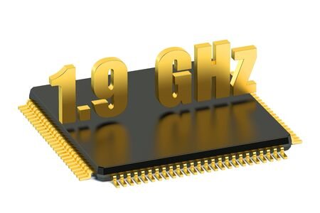 multicore: CPU chip for smatphone and tablet 1.9 GHz frequency isolated on white background
