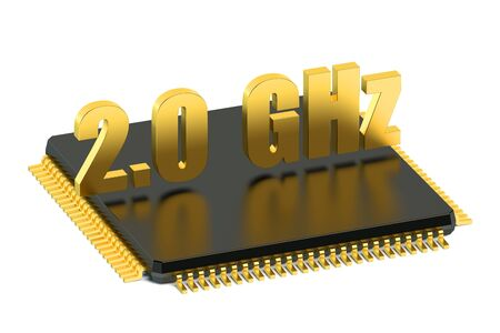 multicore: CPU chip for smatphone and tablet 2.0 GHz frequency isolated on white background