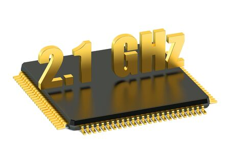 frequency: CPU chip for smatphone and tablet 2.1 GHz frequency isolated on white background Stock Photo