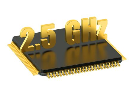 multicore: CPU chip for smatphone and tablet 2.5 GHz frequency isolated on white background