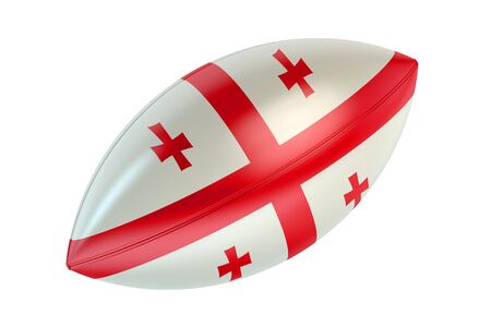 rugger: Rugby Ball with flag of Georgia isolated on white background