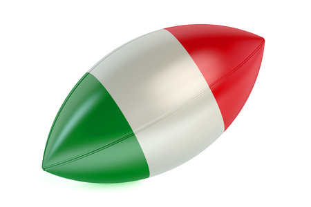 rugger: Rugby Ball with flag of Italy isolated on white background Stock Photo