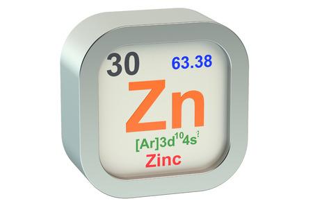 zinc: Zinc element symbol  isolated on white background