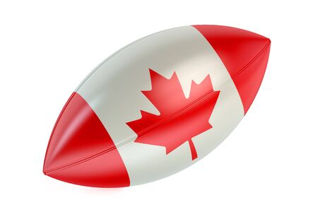 rugger: Rugby Ball with flag of Canada isolated on white background