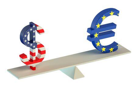 balance concept: Dollar or Euro, balance concept isolated on white background Stock Photo