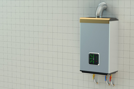 water heater: Home gas boiler, water heater Stock Photo