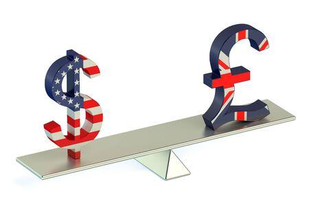 libra esterlina: Dólar o la libra esterlina, el USD  GBR concepto de equilibrio aislado en fondo blanco