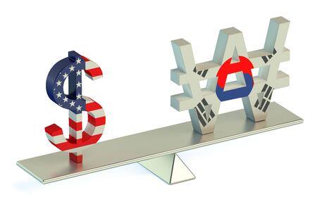 Dollar or South Korean won, USDKRW balance concept isolated on white background Stock Photo