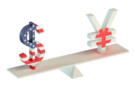 leverage: Dollar or Yen, USDJPY balance concept  isolated on white background Stock Photo