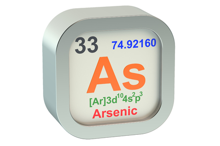 arsenic: Arsenic element symbol  isolated on white background