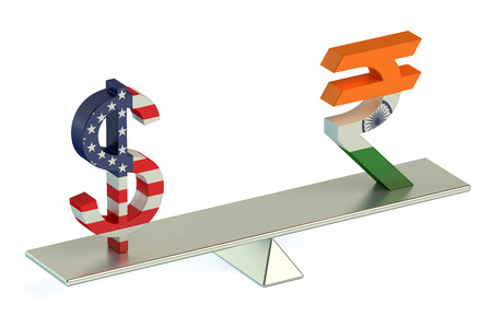 foreign currency: Dollar or Indian Rupee, USDINR currency pair concept Stock Photo